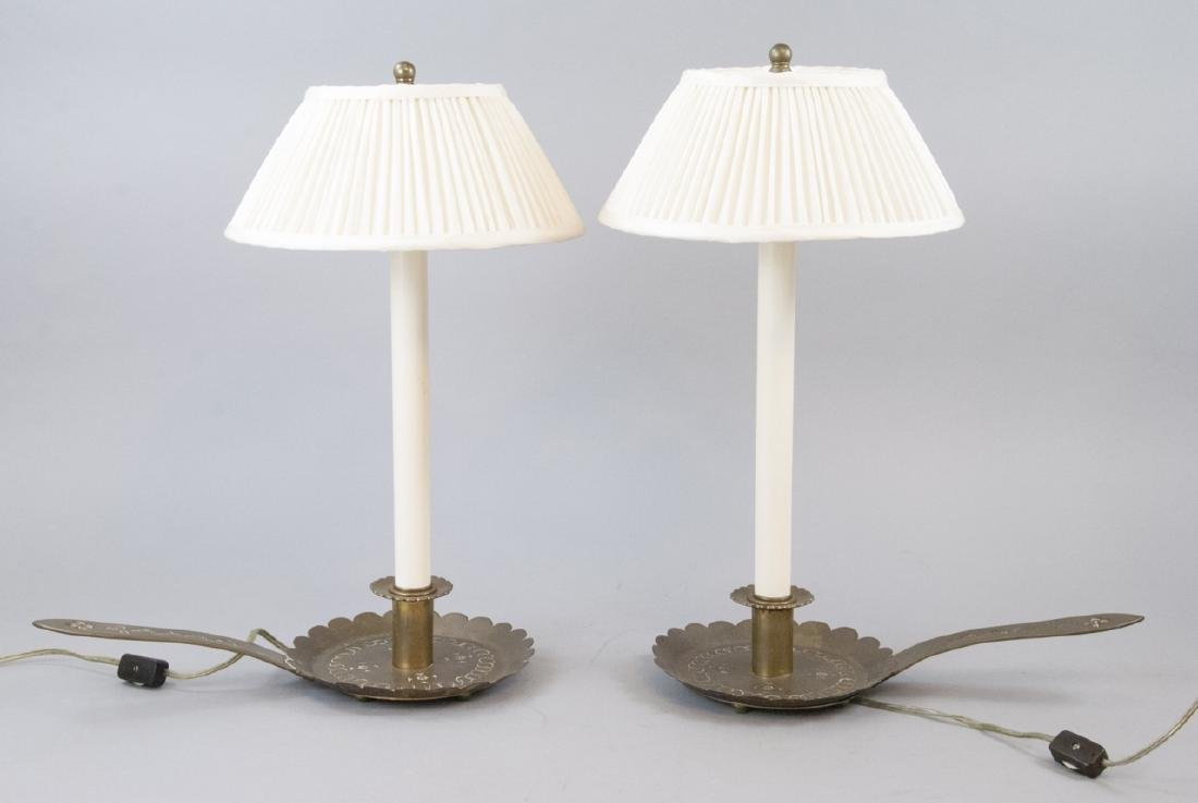 Pair Antique Chased Metal Candlestick Mount Lamps - 4