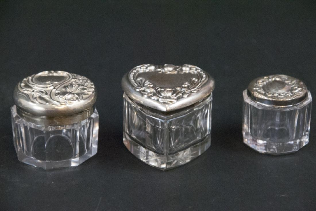Collection of Sterling & Silver Plate Vanity Jars - 3