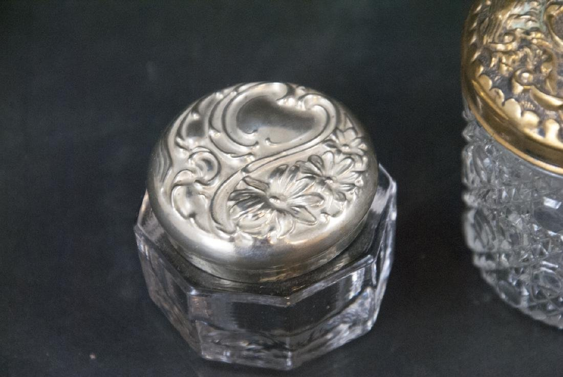 Collection of Sterling & Silver Plate Vanity Jars - 4