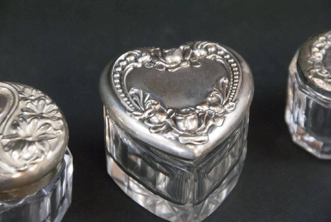 Collection of Sterling & Silver Plate Vanity Jars - 8