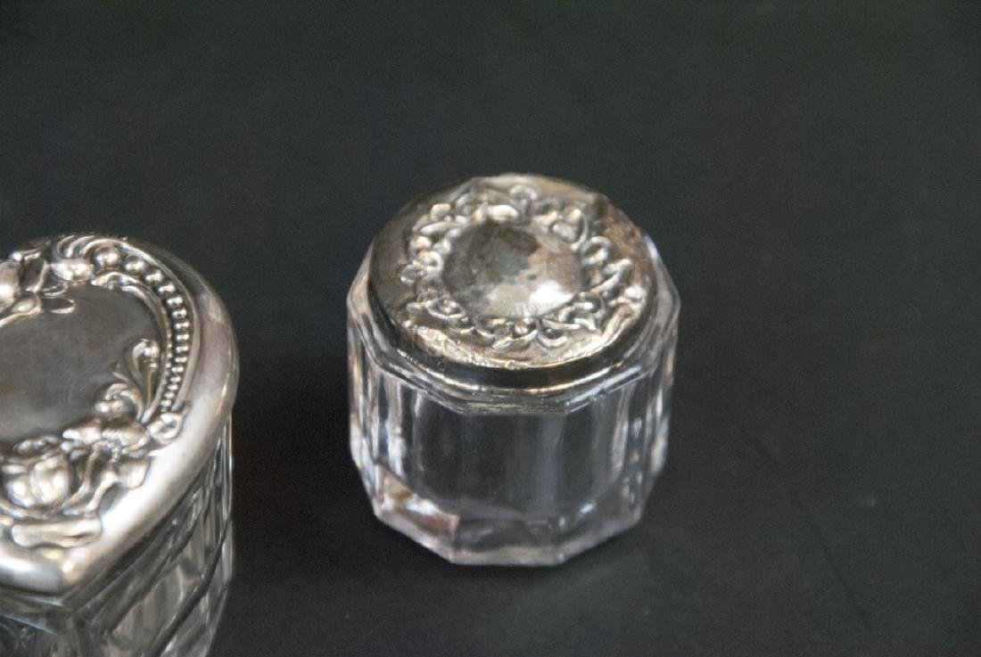Collection of Sterling & Silver Plate Vanity Jars - 9