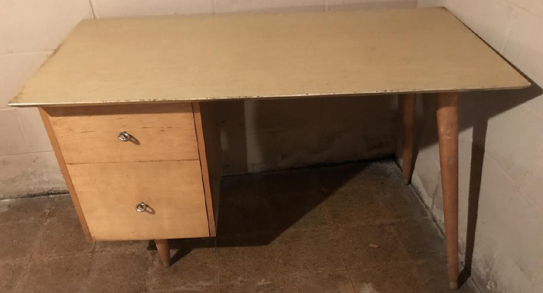 Mid Century Modern Blonde Wood Desk