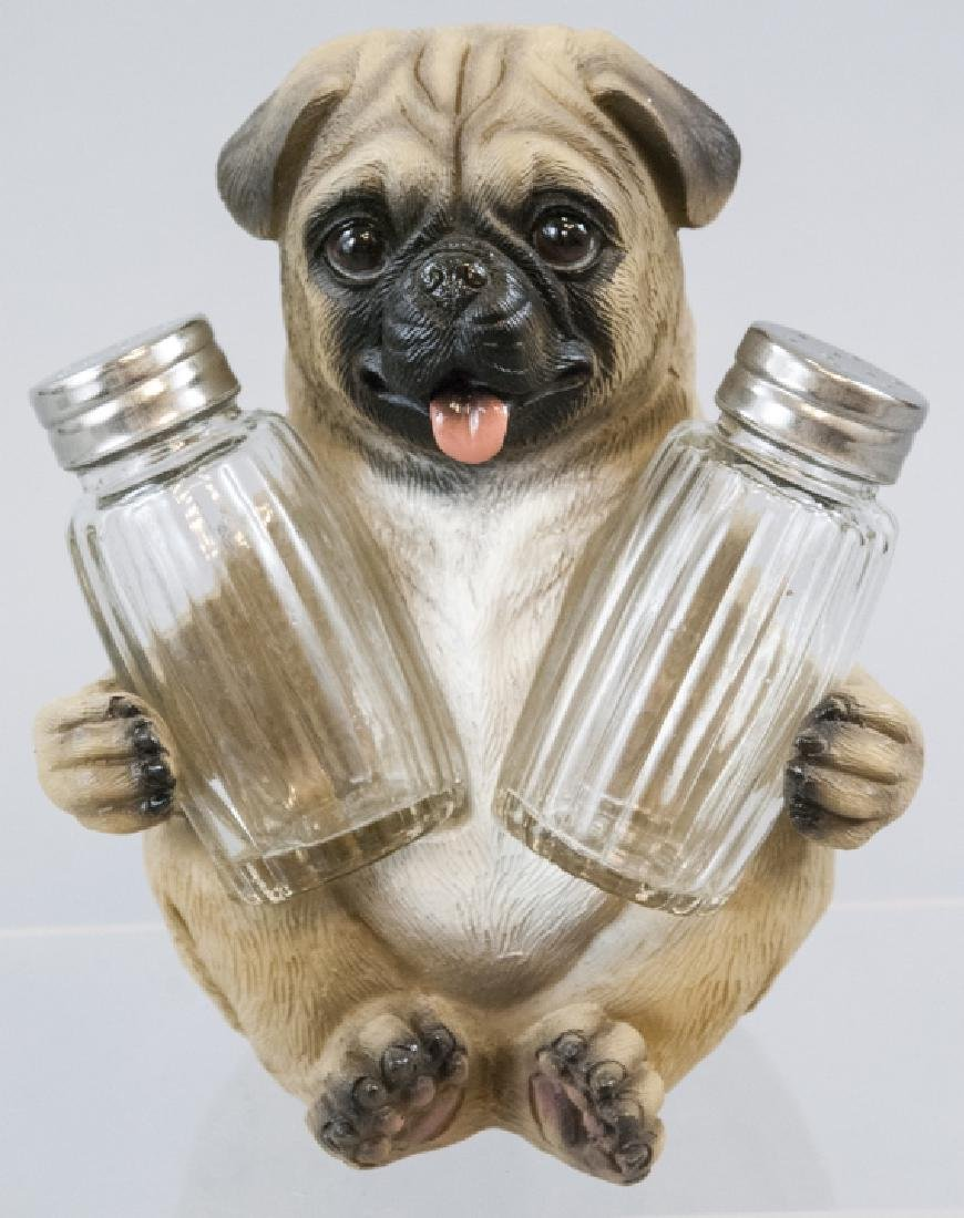 Figural Pug Statue to Hold Salt & Pepper Shakers