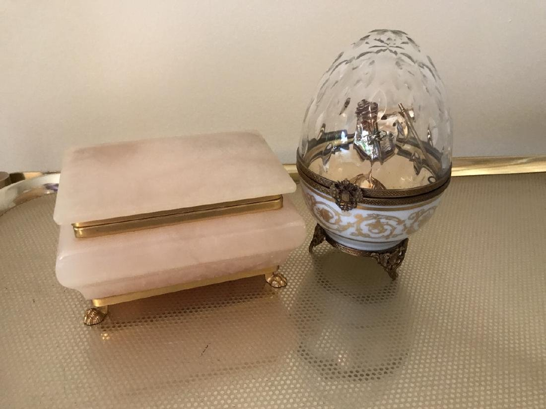 Faberge Box & Carved Alabaster Jewelry Box