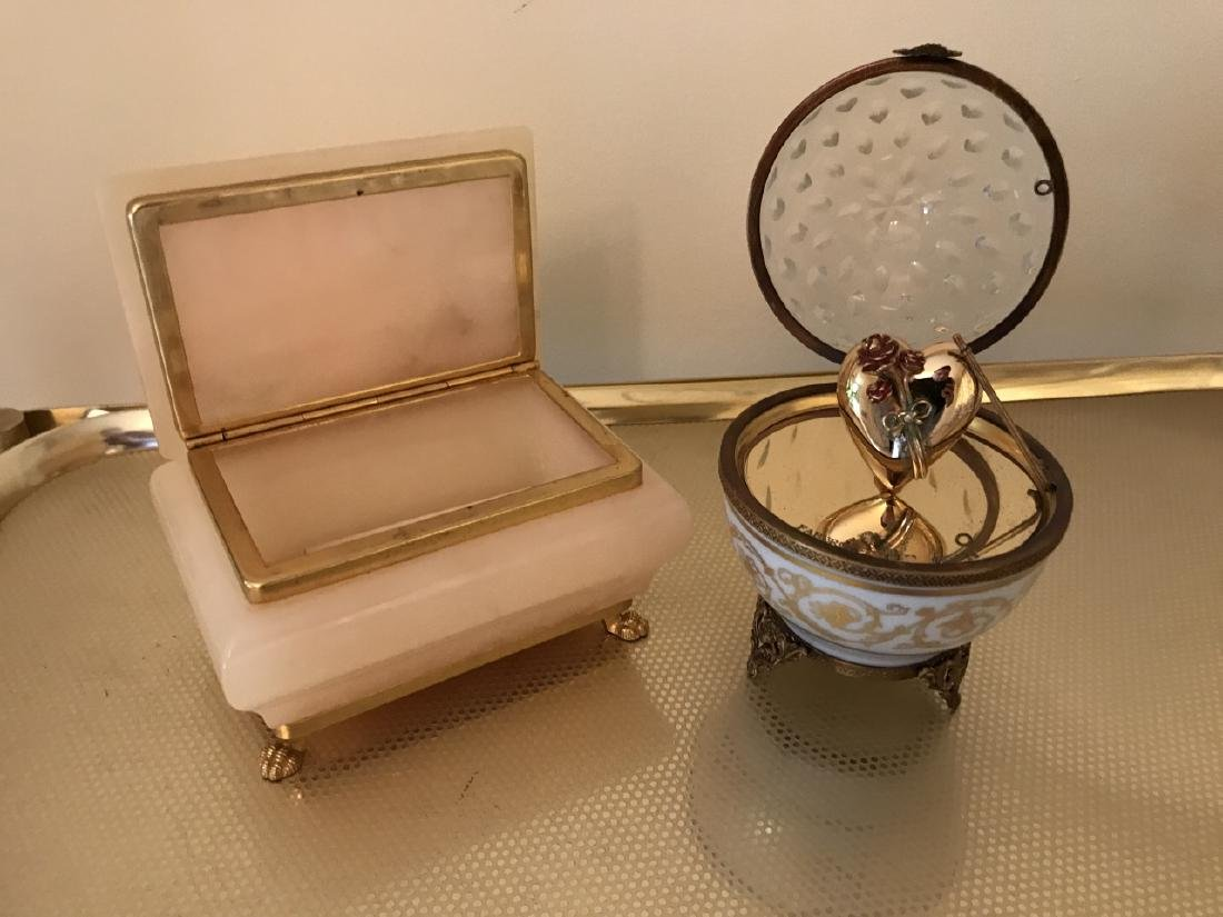 Faberge Box & Carved Alabaster Jewelry Box - 3