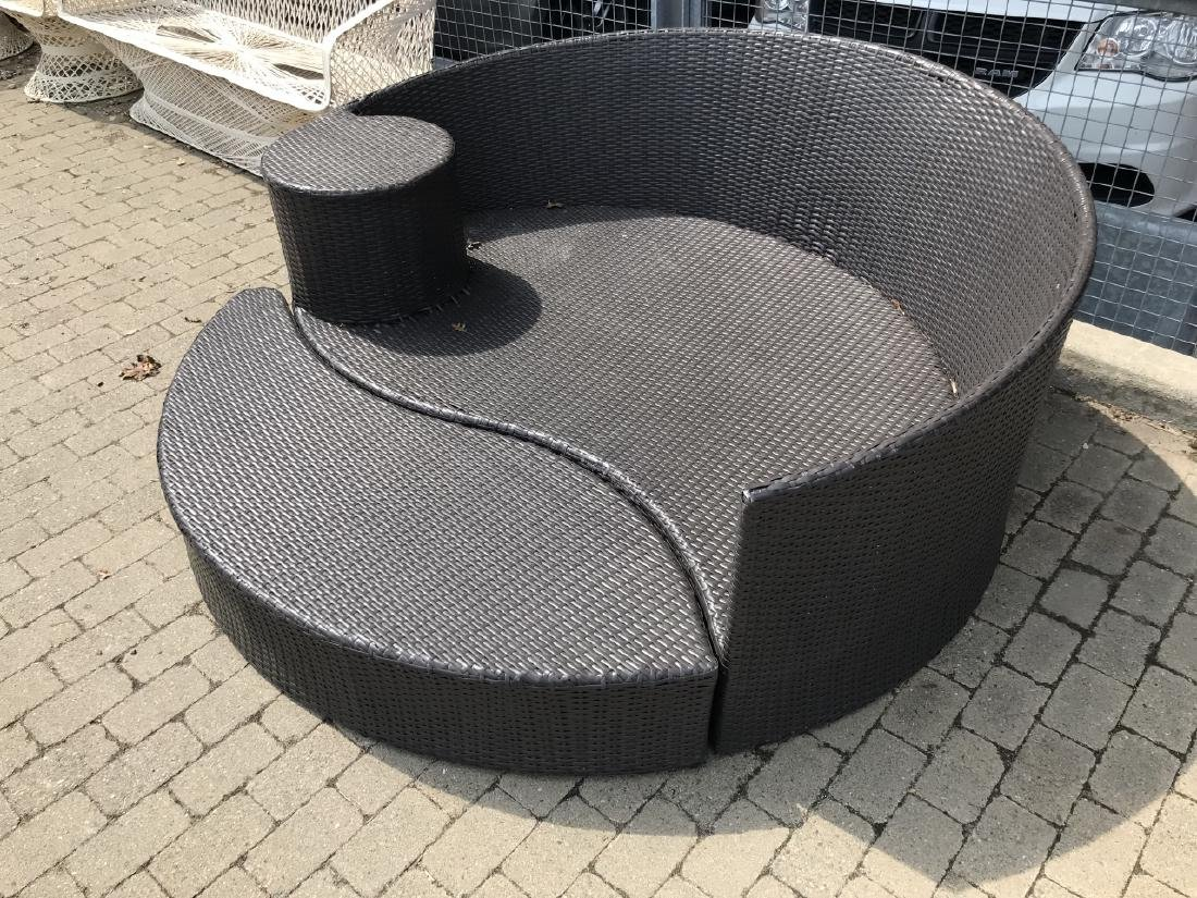 Contemporary Plastic Wicker Round Bench & Ottoman - 3