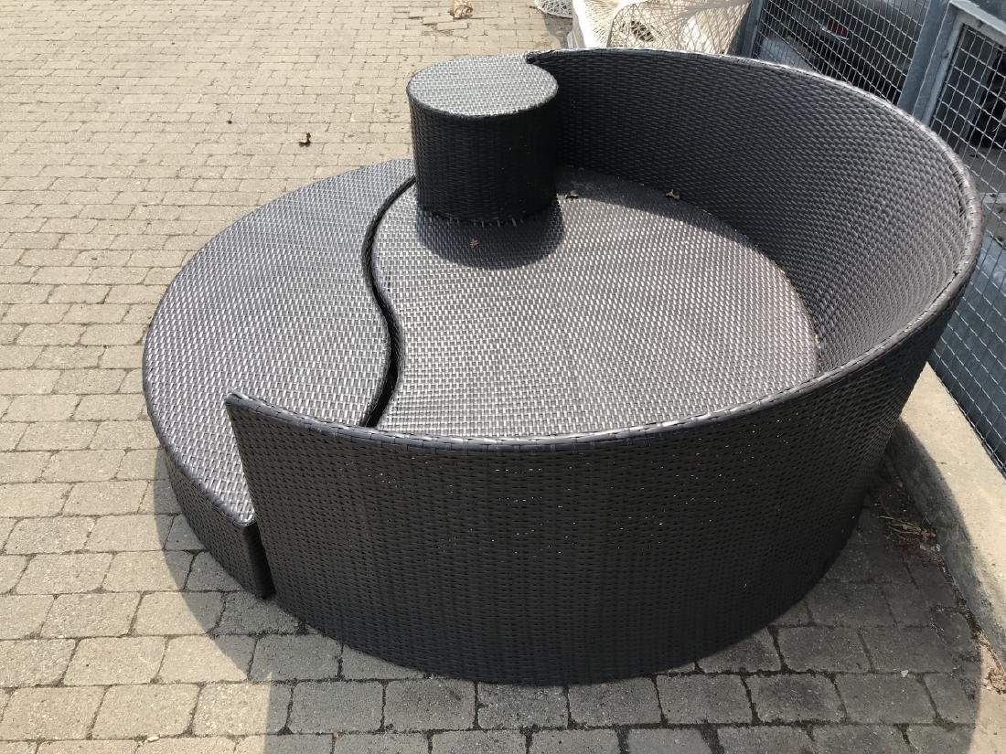 Contemporary Plastic Wicker Round Bench & Ottoman - 4