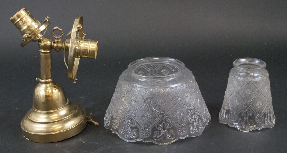 Antique Gilt Metal & Press Glass Double Arm Sconce