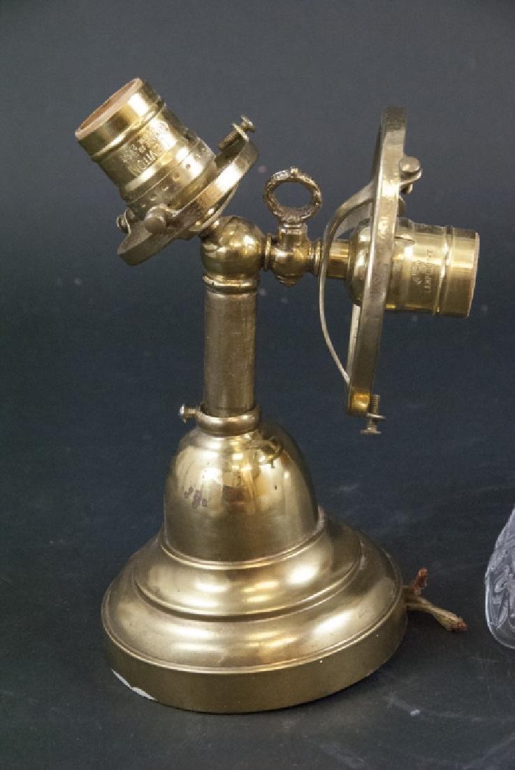 Antique Gilt Metal & Press Glass Double Arm Sconce - 2
