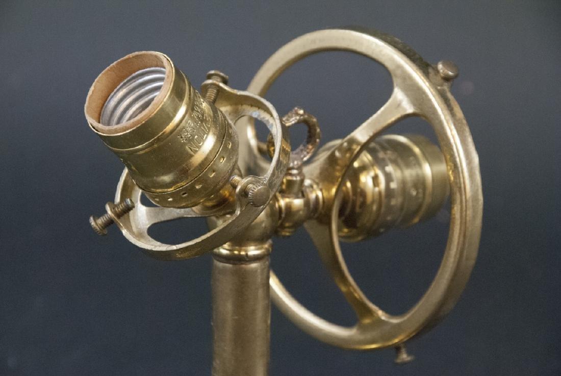 Antique Gilt Metal & Press Glass Double Arm Sconce - 3