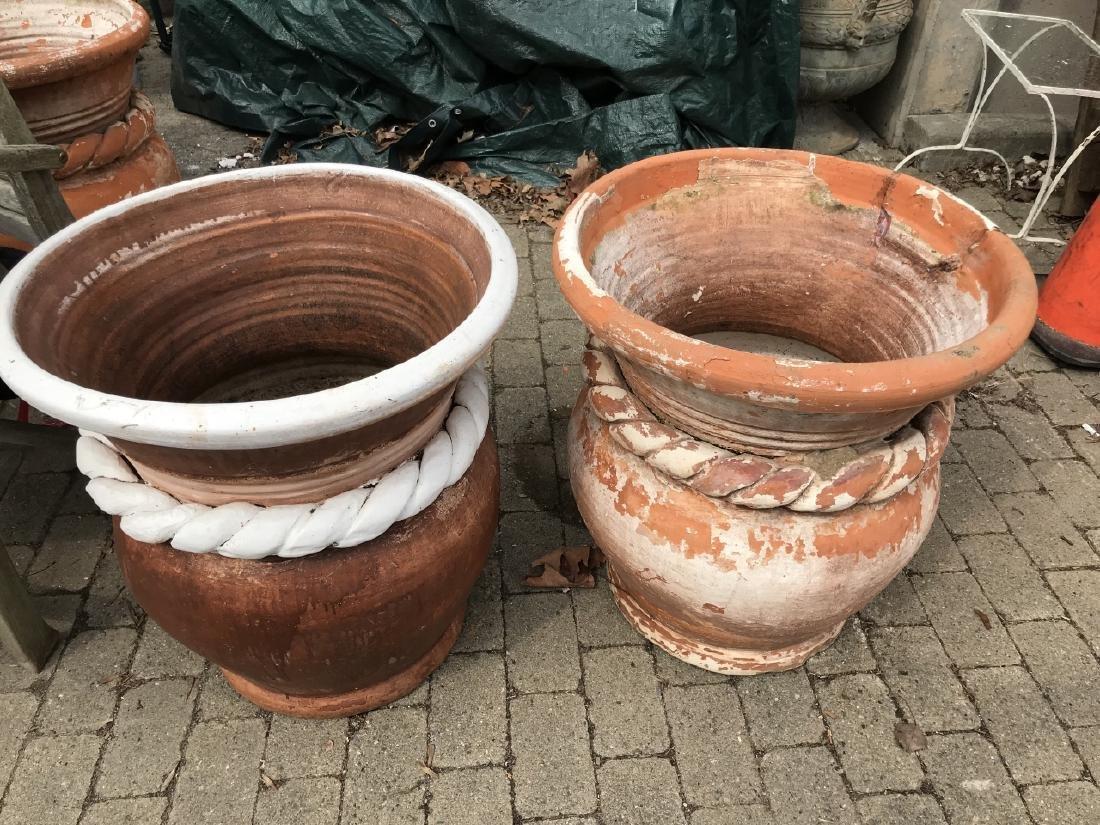 Pair of Terracotta Garden Pots w Rope Twist Design - 2
