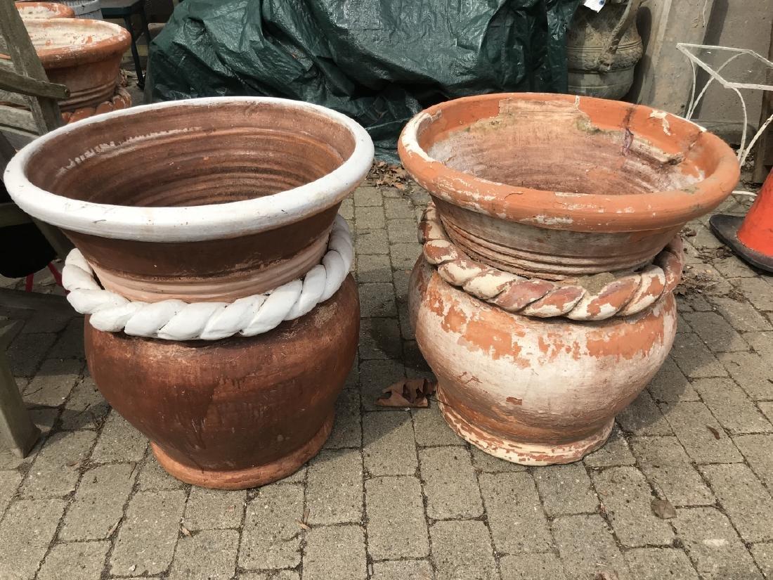 Pair of Terracotta Garden Pots w Rope Twist Design - 3