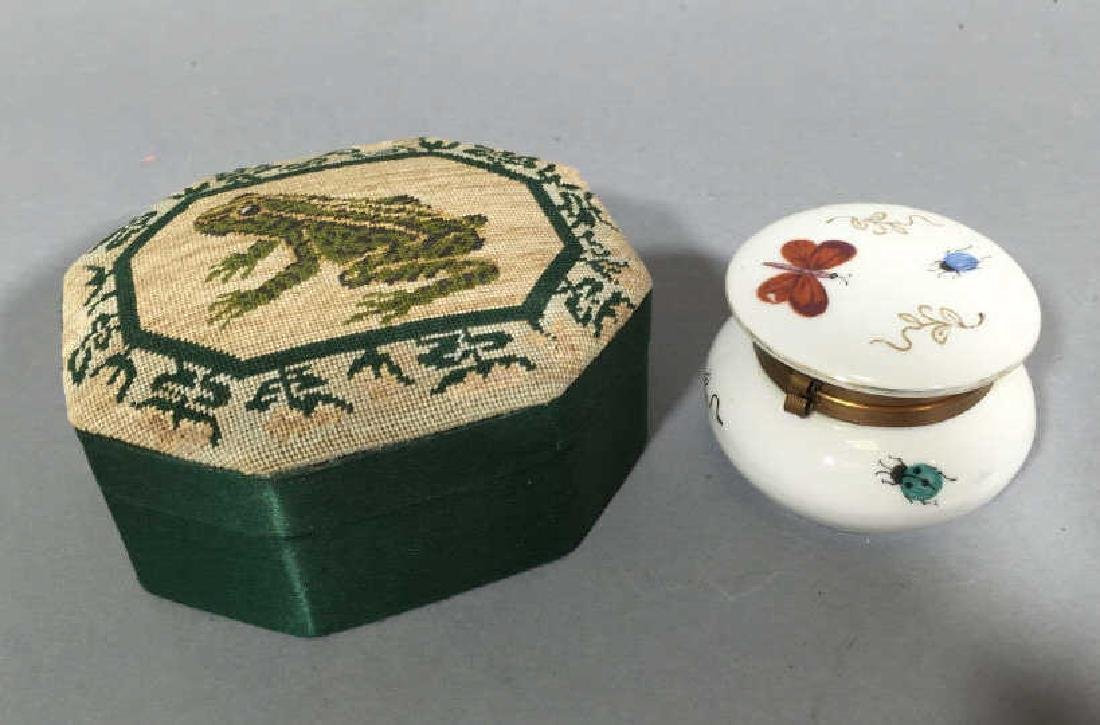 Petit Point Frog Jewelry Box & Butterfly Box