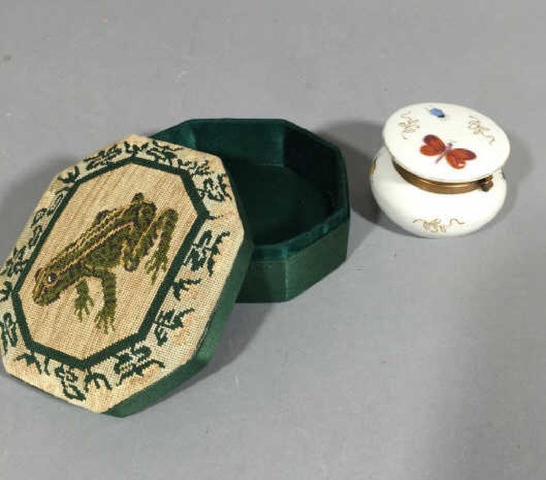 Petit Point Frog Jewelry Box & Butterfly Box - 2