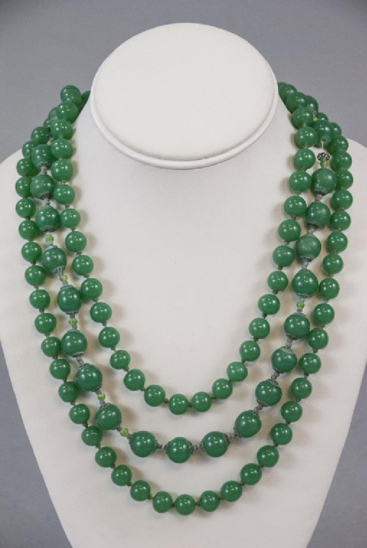 Chrysoprase & Peking Glass Vintage Jade Necklaces - 2