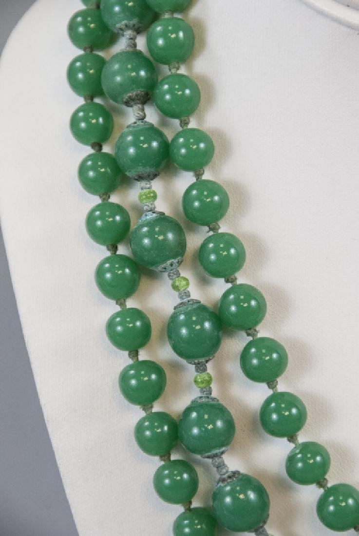 Chrysoprase & Peking Glass Vintage Jade Necklaces - 3