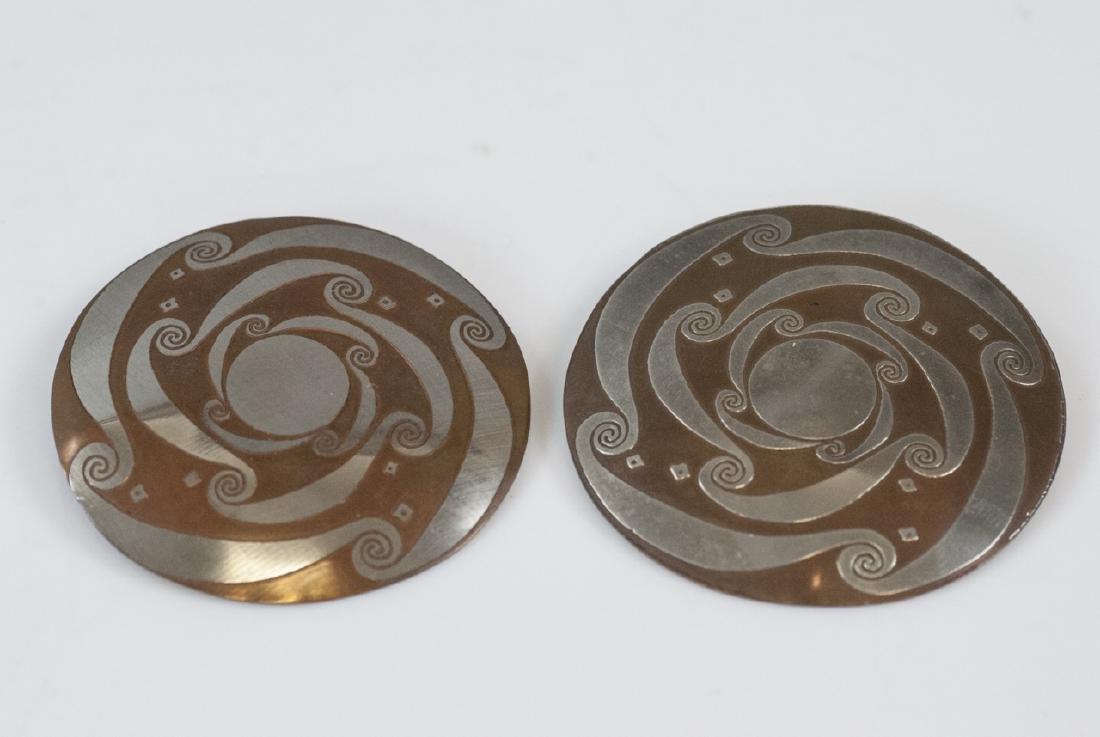 Pair Vintage Mixed Metal Copper & Silver Earrings
