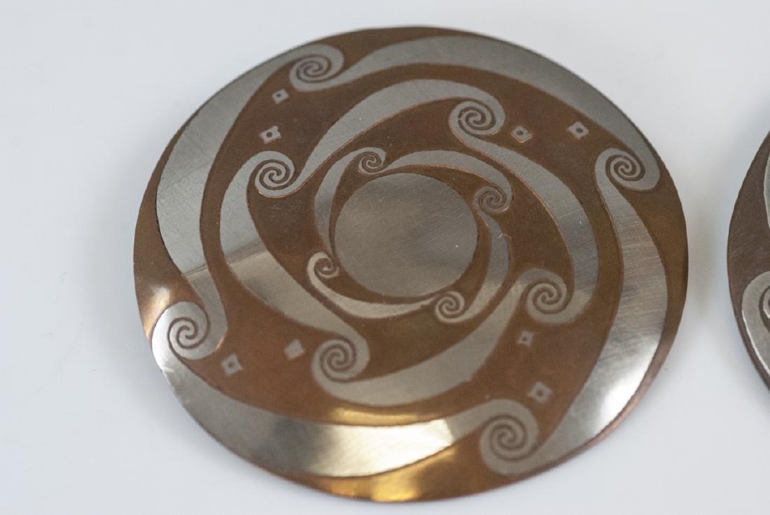 Pair Vintage Mixed Metal Copper & Silver Earrings - 2