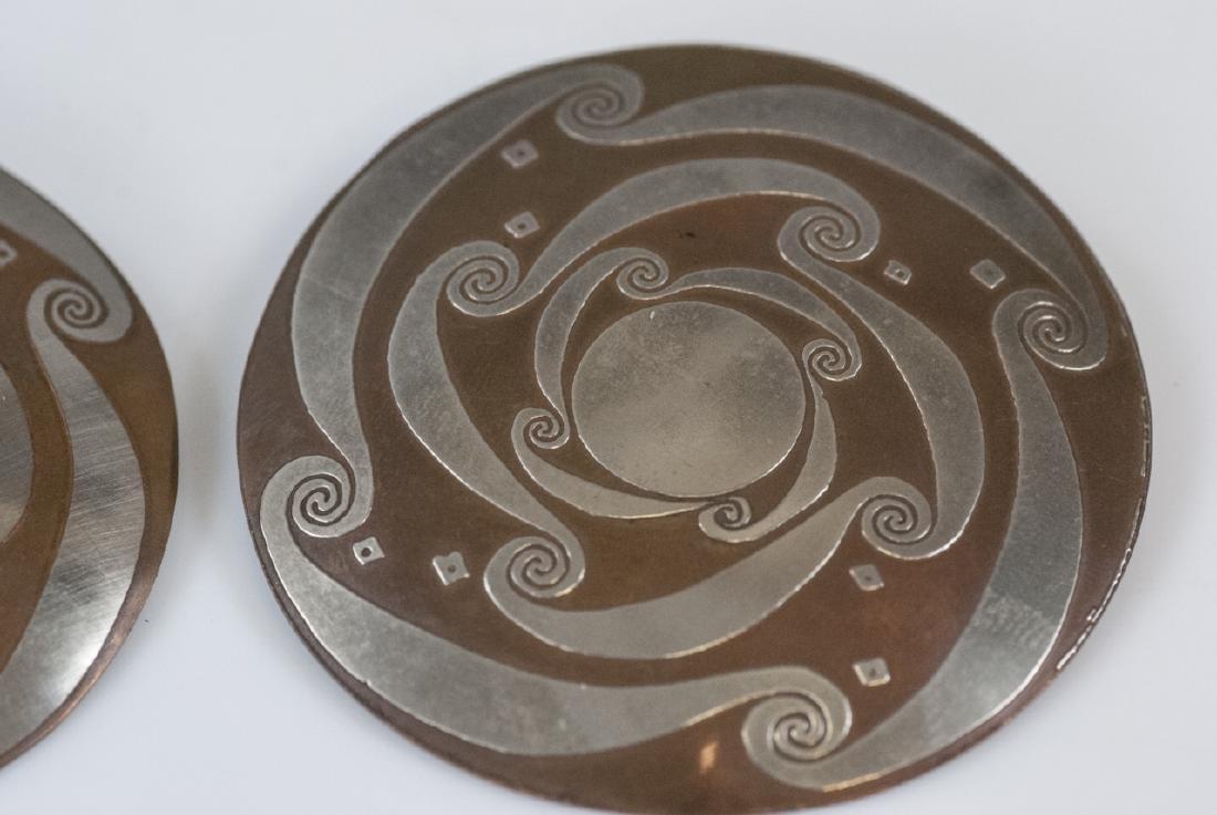 Pair Vintage Mixed Metal Copper & Silver Earrings - 3