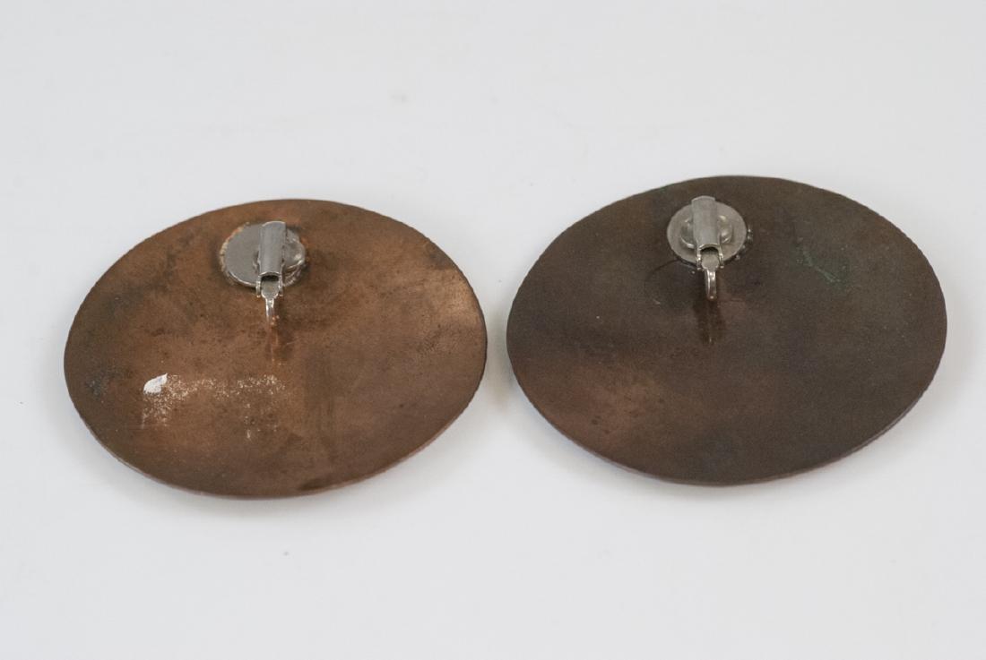 Pair Vintage Mixed Metal Copper & Silver Earrings - 4