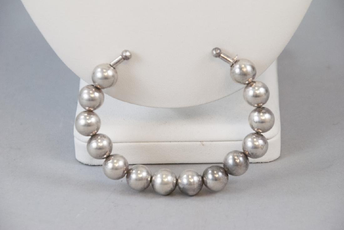 Vintage Sterling Silver Bead Necklaces & Cuff - 2