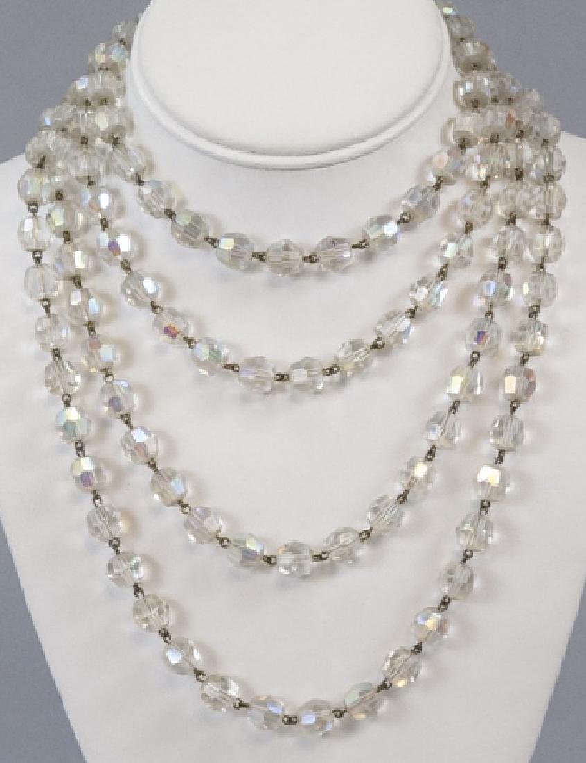Antique 70 Inch Flapper Crystal Necklace Strand