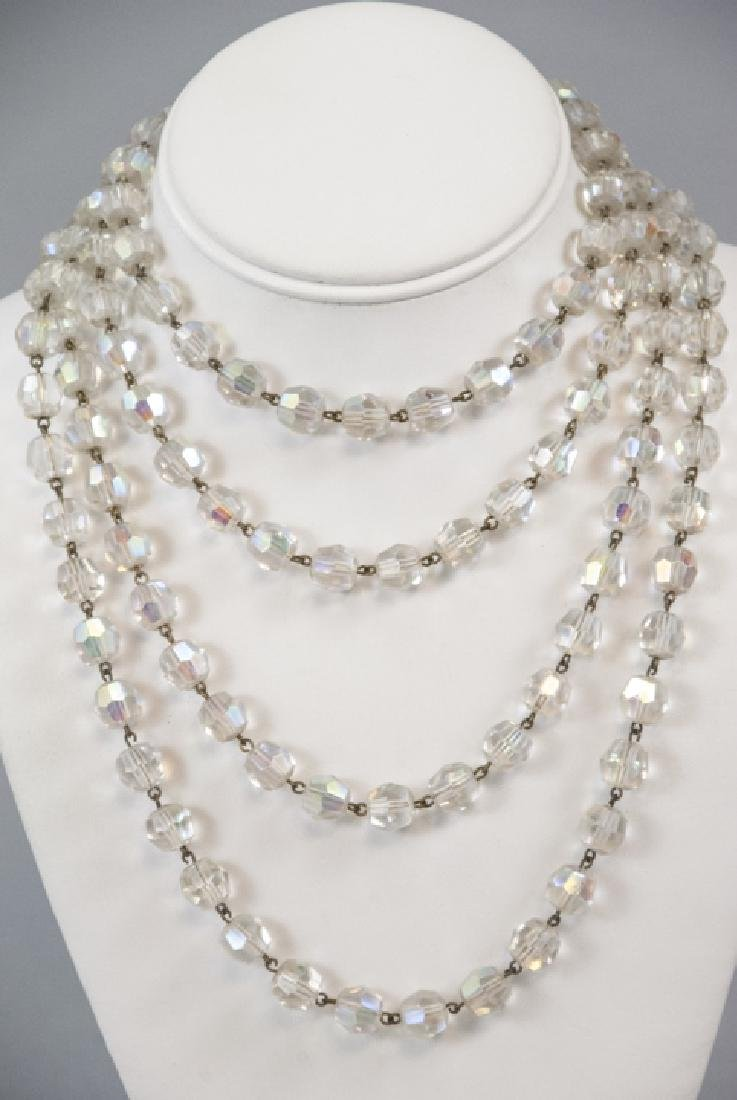 Antique 70 Inch Flapper Crystal Necklace Strand - 3