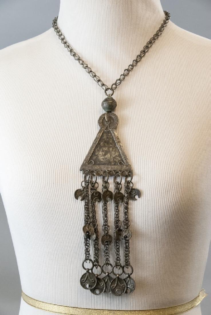 Vintage Gypsy Style Necklace w Ornate Pendant - 3