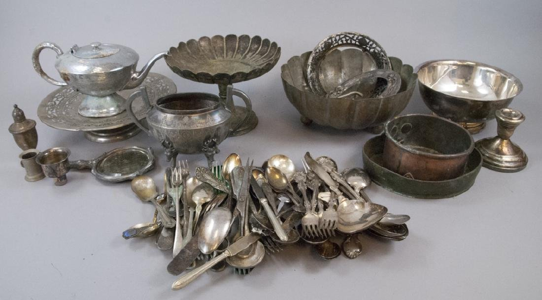 Lot Mixed Silver Plate & Mixed Metal Antique Items
