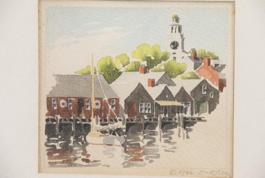 Pair Rockport MA School Original Signed Watercolor - 2