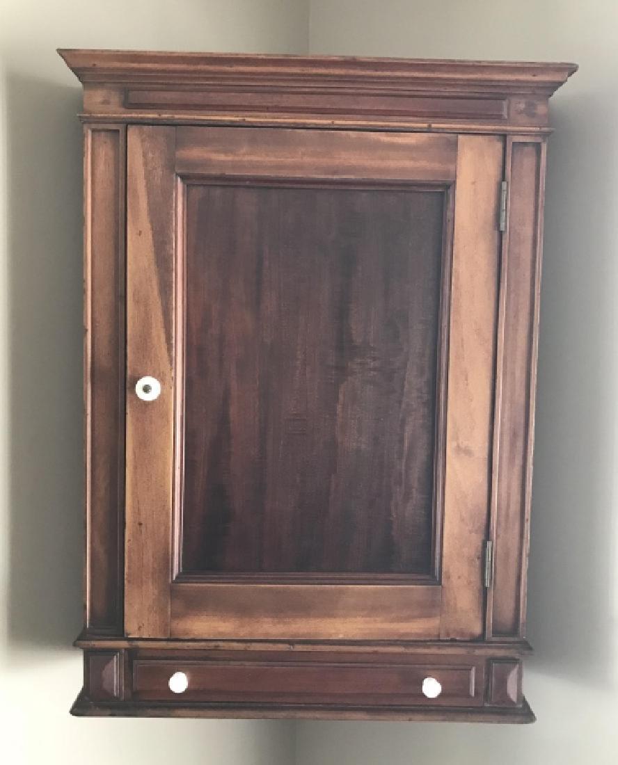 Antique 19th C Corner Wall Hanging Cabinet
