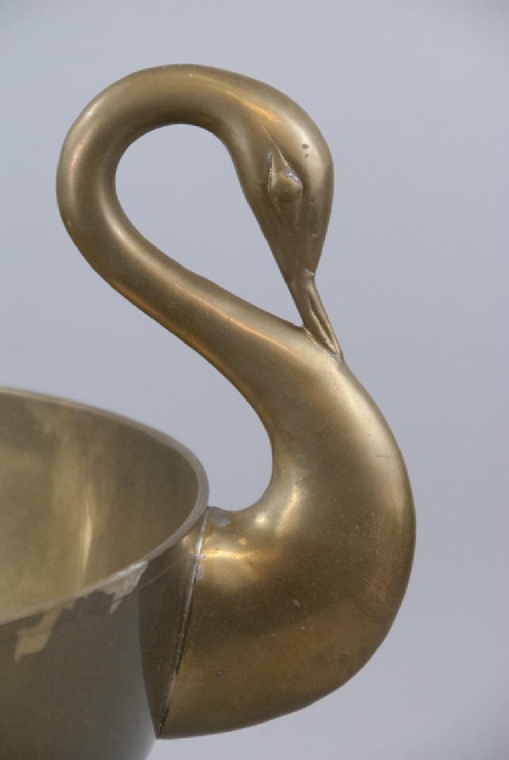 Neo Classical Gilt Brass Swan Handle Centerpiece - 2