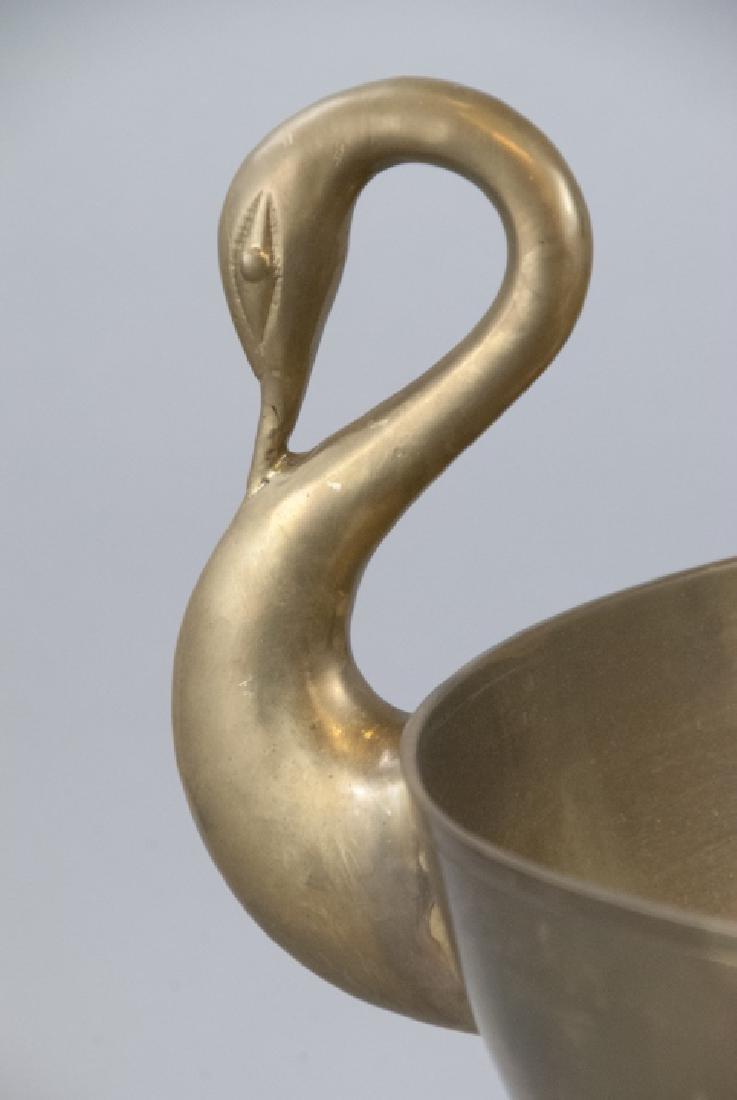 Neo Classical Gilt Brass Swan Handle Centerpiece - 3