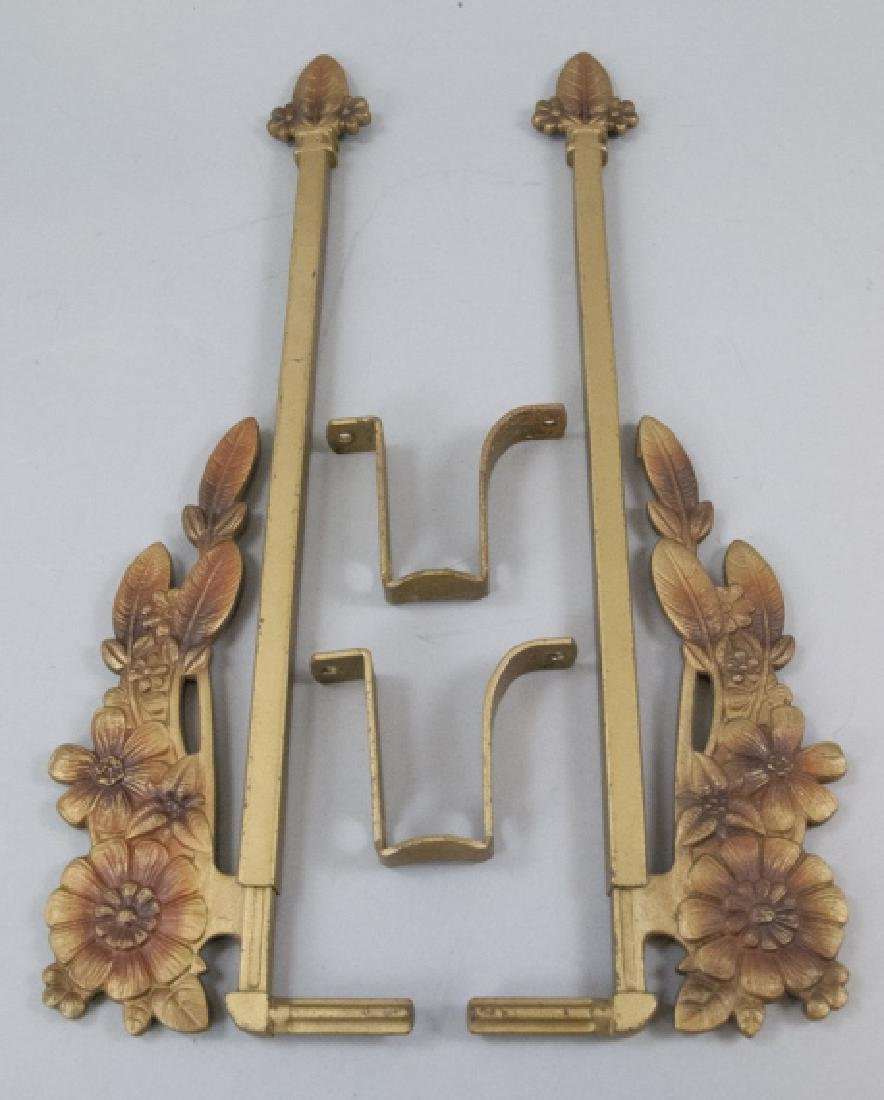 Pair Antique Gilt Metal Art Deco Curtain Tie Backs