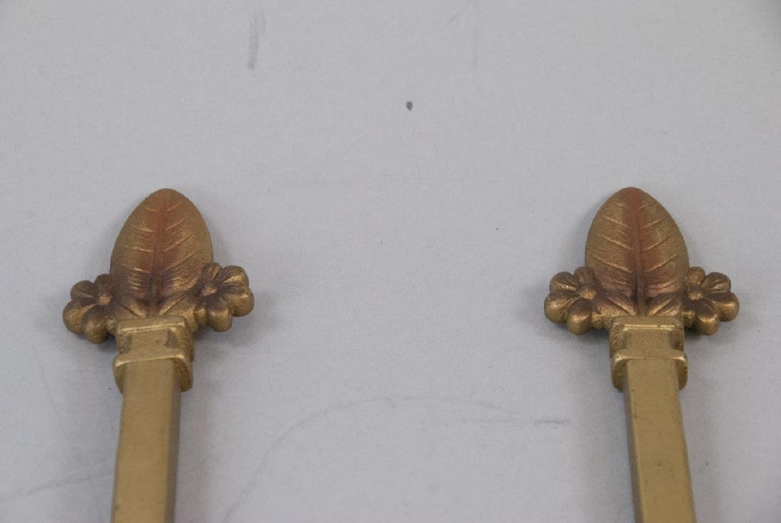 Pair Antique Gilt Metal Art Deco Curtain Tie Backs - 2