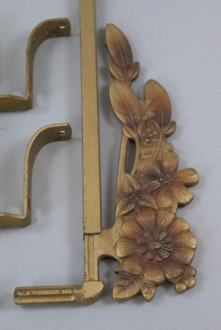Pair Antique Gilt Metal Art Deco Curtain Tie Backs - 3