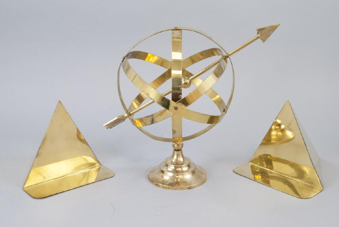 Vintage Gilt Brass Book Ends & Armillary Sphere