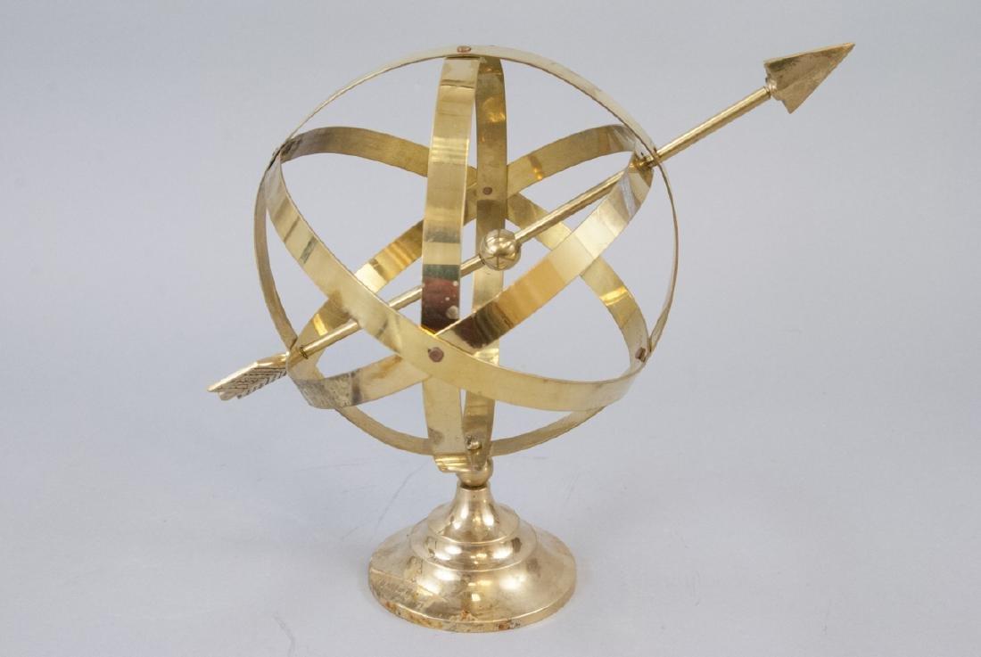 Vintage Gilt Brass Book Ends & Armillary Sphere - 2