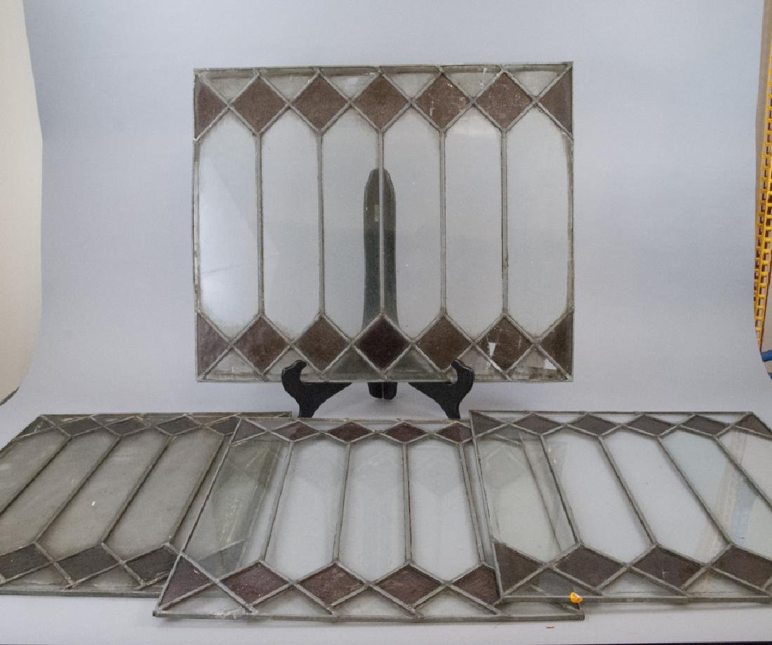 Four Antique Stained Glass Windows / Panels