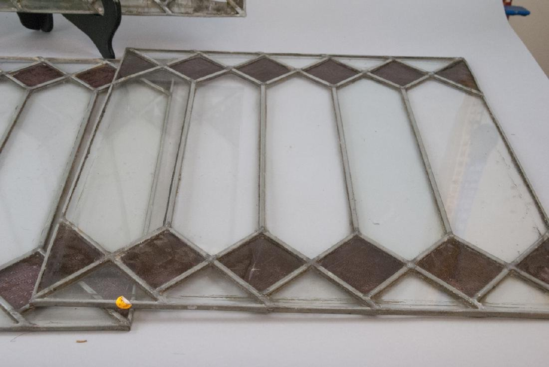 Four Antique Stained Glass Windows / Panels - 7