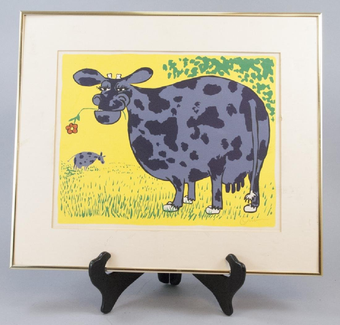 Pencil Signed Vintage Colorful Print of a Cow