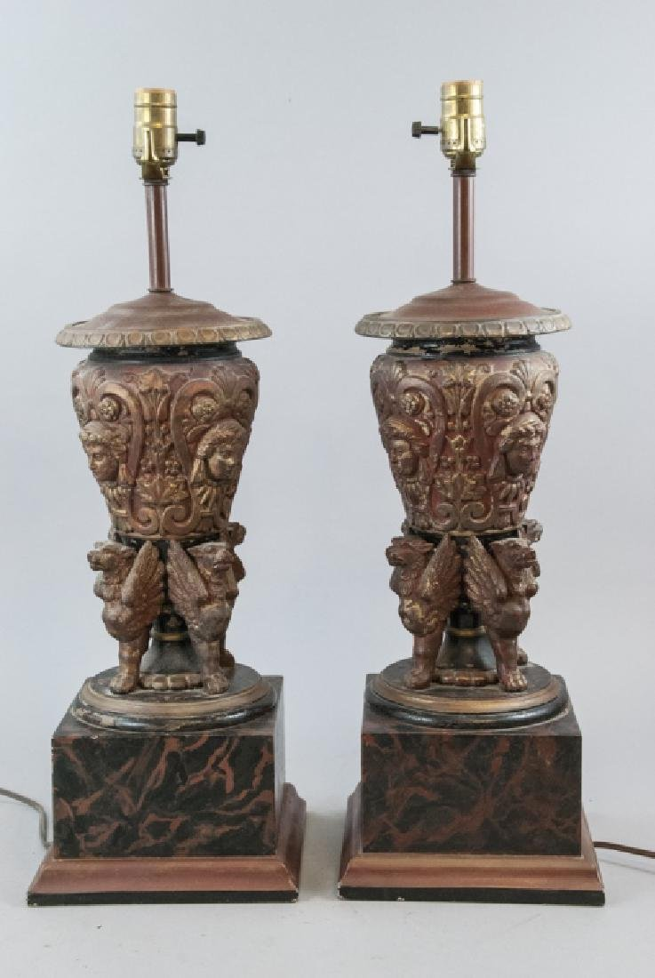 Pair Neo Classical Table Lamps w Faux Marble Bases
