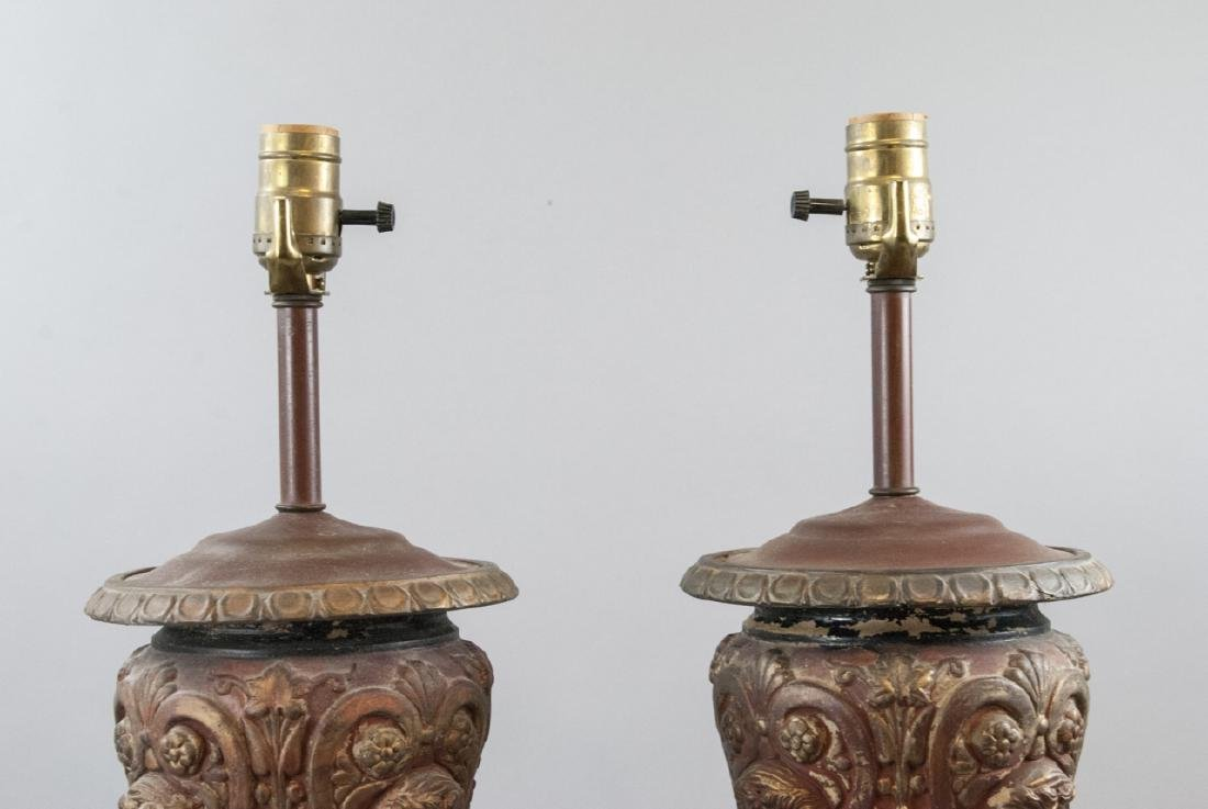 Pair Neo Classical Table Lamps w Faux Marble Bases - 7