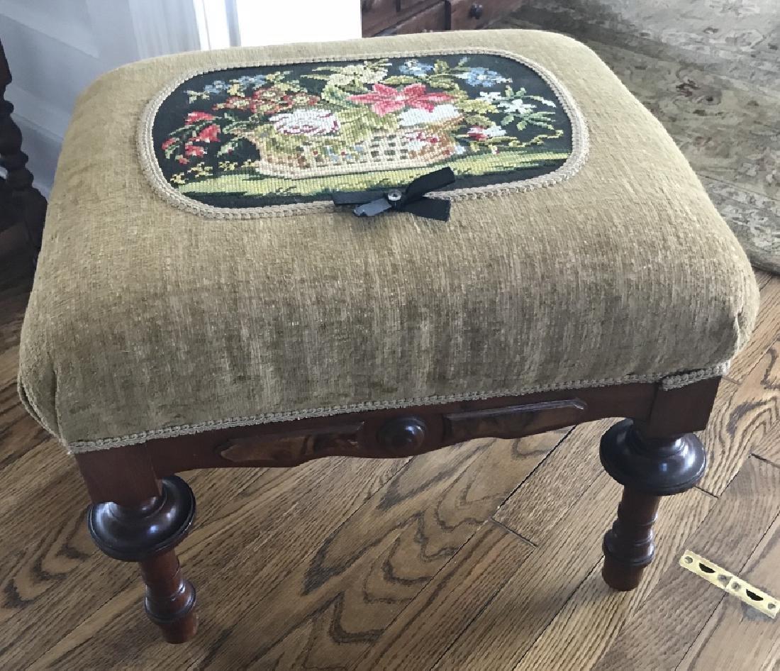Antique 19th C American Victorian Ottoman Bench