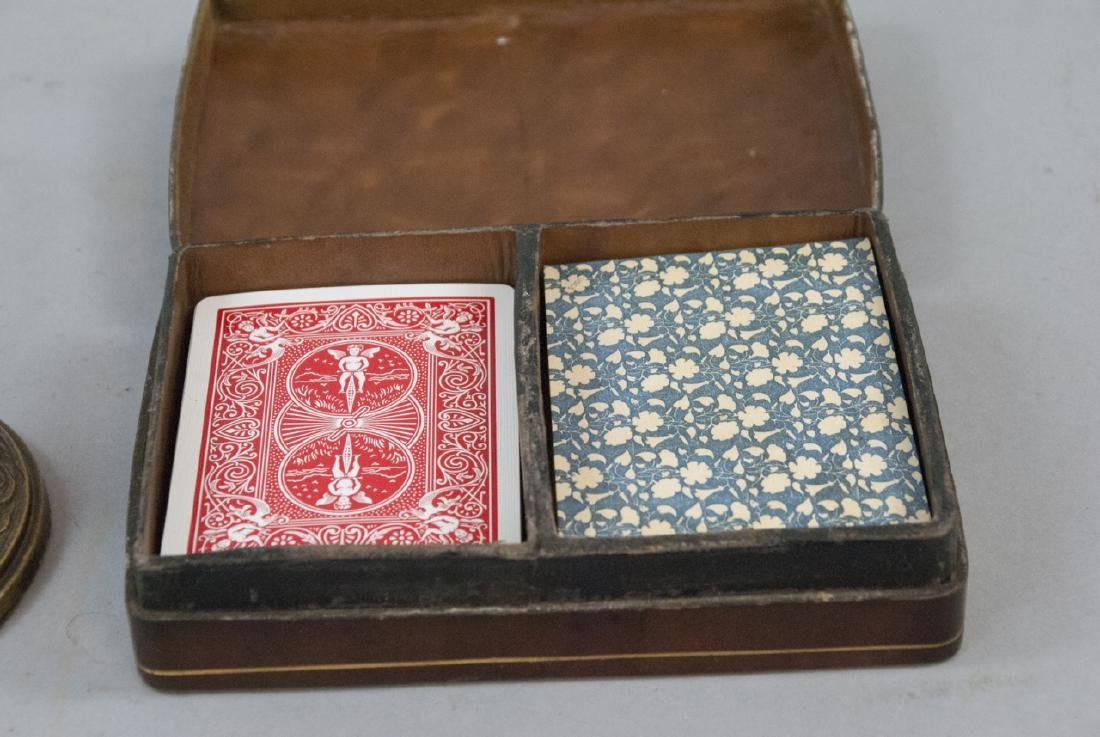 Vintage Table Lamp & Leather Playing Card Case - 3