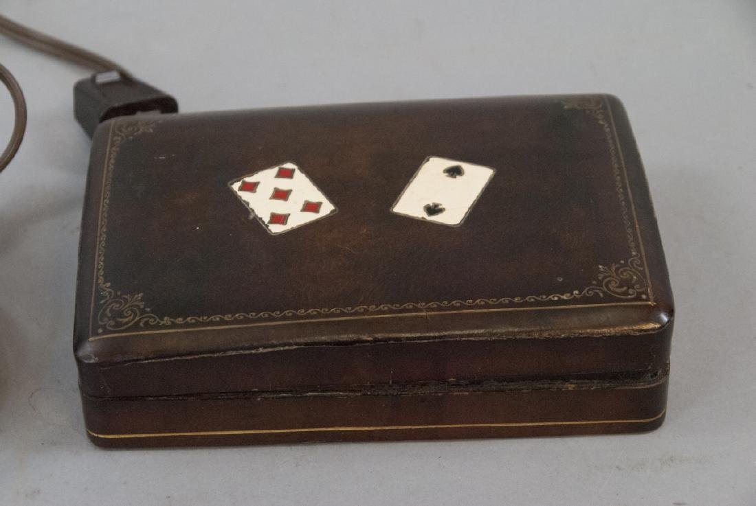 Vintage Table Lamp & Leather Playing Card Case - 4
