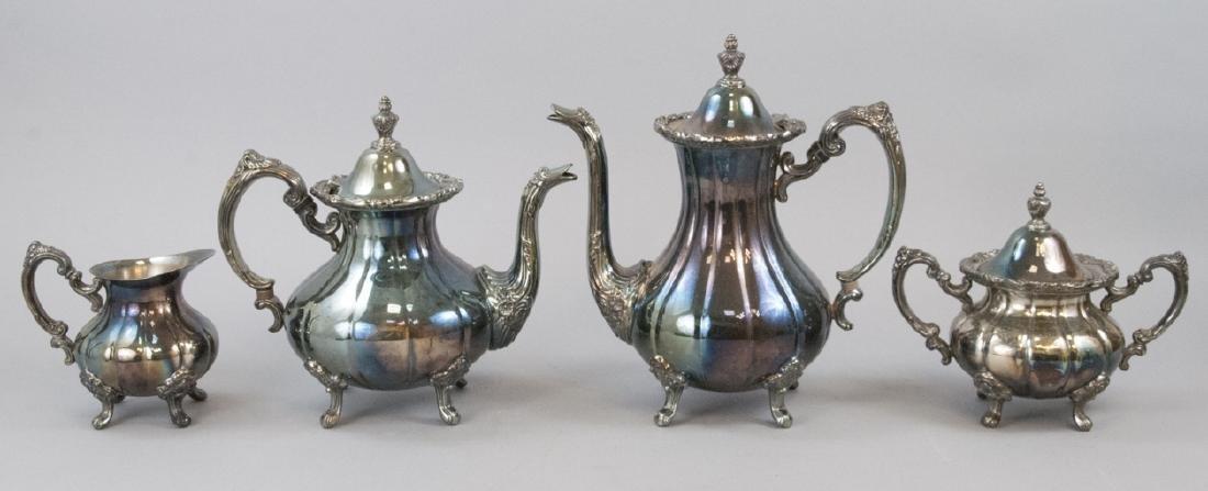 Silver Plate Georgian Rose Style 4-piece Tea Set