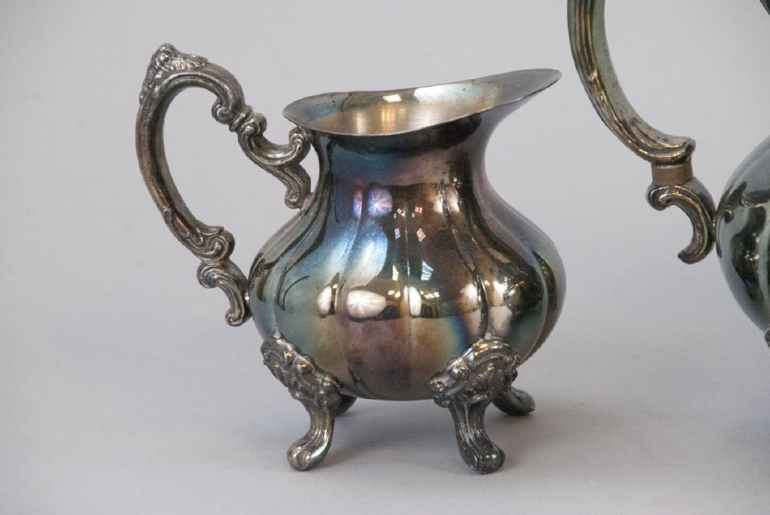 Silver Plate Georgian Rose Style 4-piece Tea Set - 2