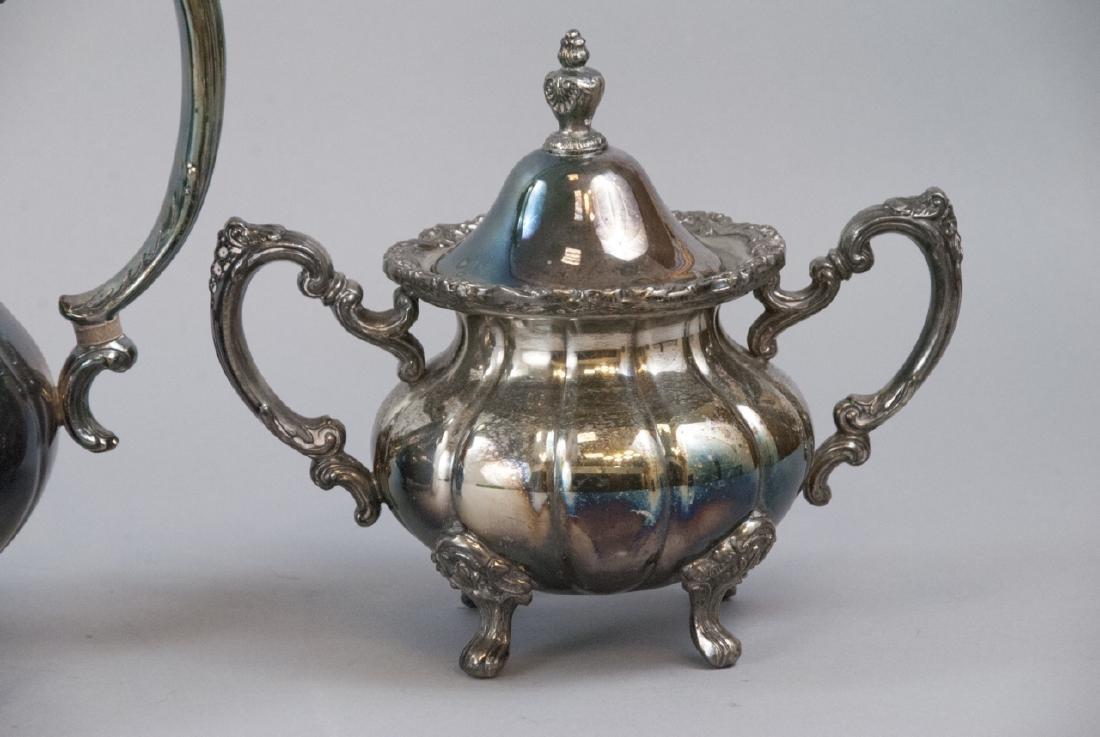 Silver Plate Georgian Rose Style 4-piece Tea Set - 3