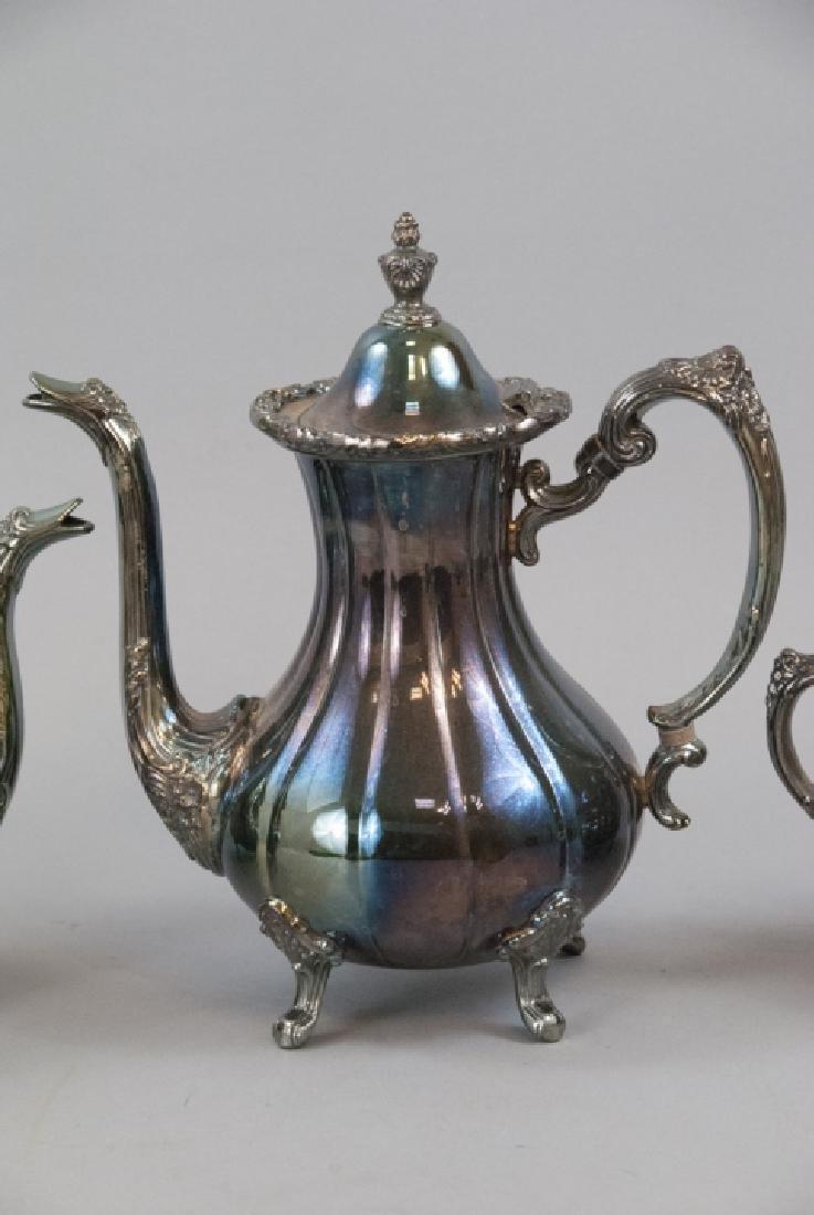 Silver Plate Georgian Rose Style 4-piece Tea Set - 4